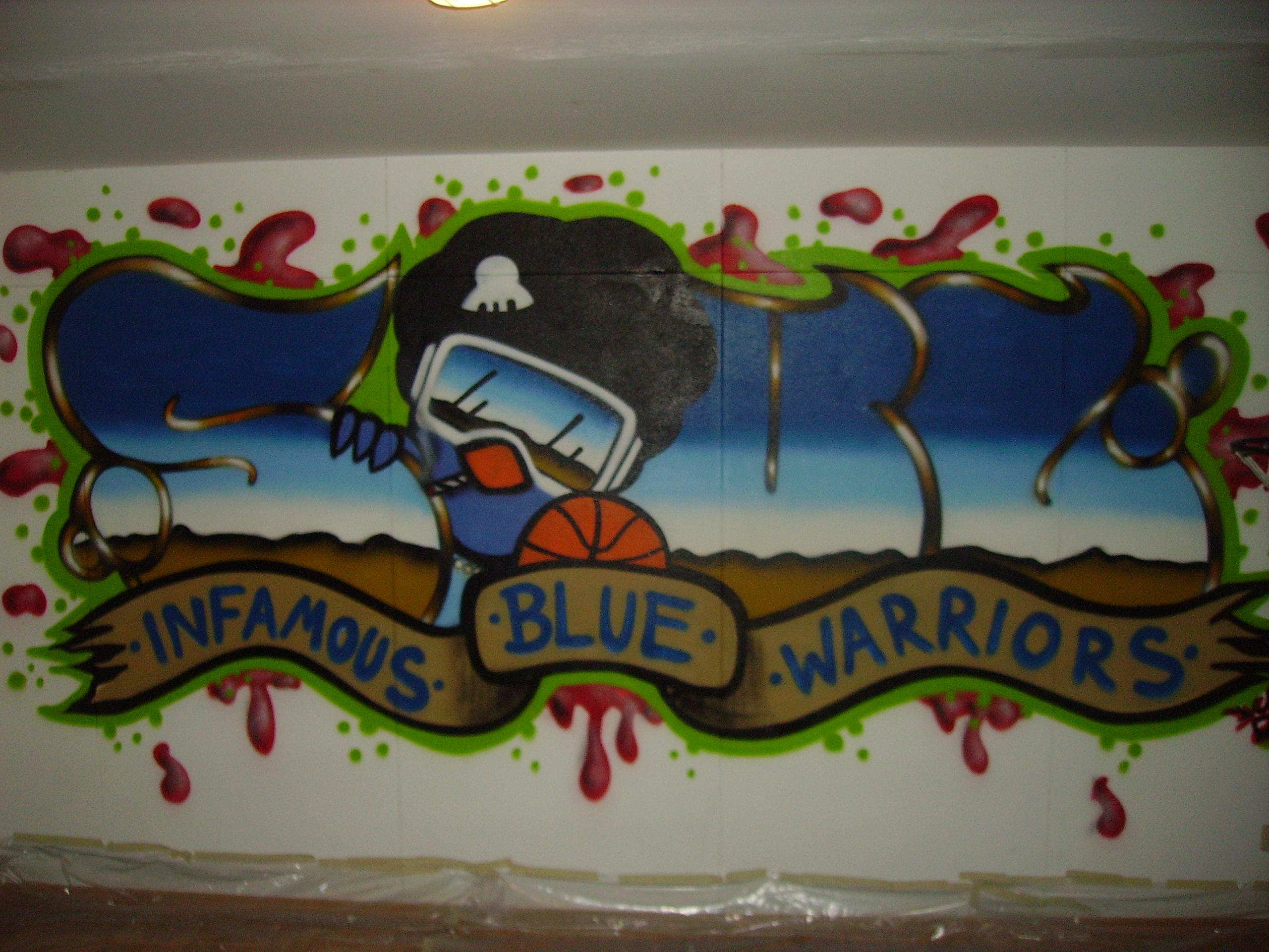 Street art infamous blue warriors - Graffiti zimmerwand ...